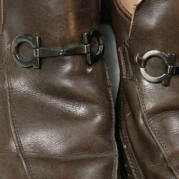 Salvatore Ferragamo Mens 11 Brown Leather Loafers